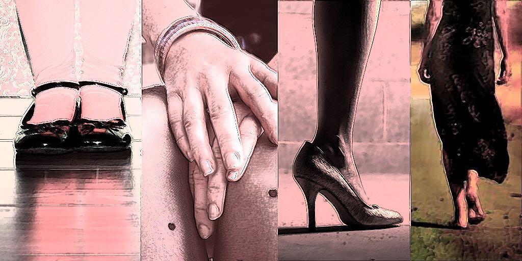 collage de cuatro imágenes de mujeres, zapatos, manos, zapatos de tacón, mujer descalza