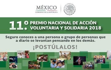 Las postulaciones al 11° Premio Nacional de Acción Voluntaria y Solidaria 2018 se recibierán a partir del 7 de mayo y hasta el 7 de septiembre de 2018.