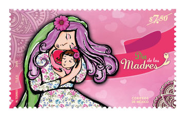 Cartera e hija realizan cancelación de estampilla alusiva al Día de las Madres
