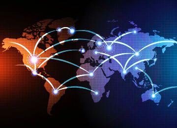 mapamundi con líneas que salen de un país a otro