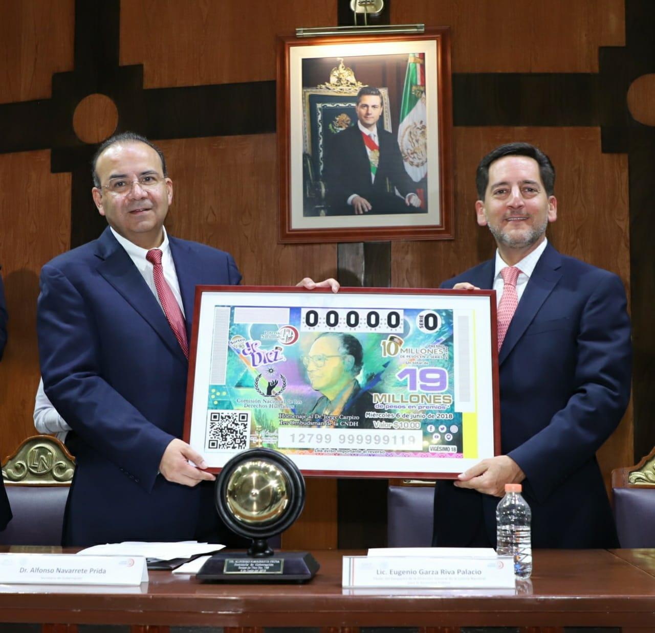 El Premio Mayor de 10 millones de pesos correspondió al billete de No. 69102; el segundo premio por un monto de 800 mil pesos correspondió al billete No. 15610