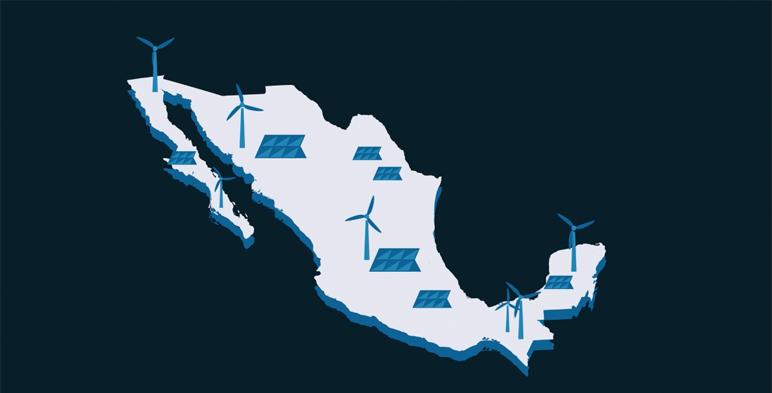 Ilustración del territorio mexicano con celdas solares y aerogeneradores distribuidos por el país.
