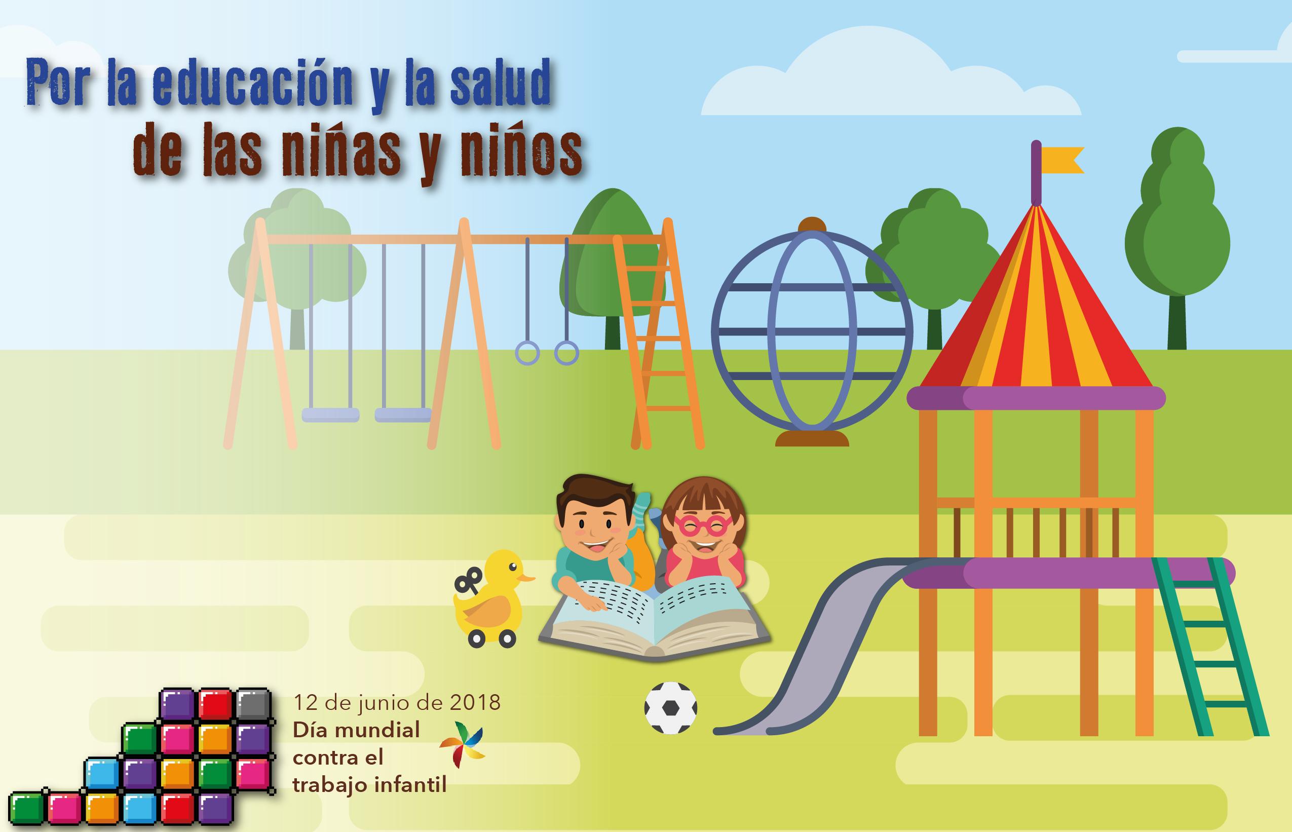 12 de junio Día Mundial contra el Trabajo Infantil. Por la educación y la salud de las niñas y los niños. Se muestra a una niña y un niño leyendo y jugando en un parque.