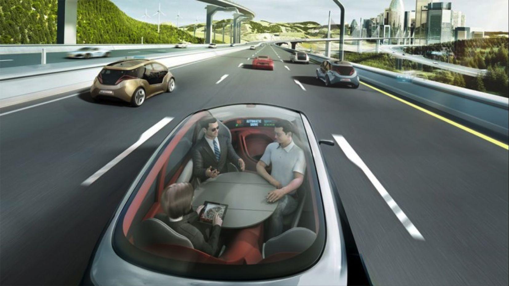 Imagen de autos manejados de forma autonoma
