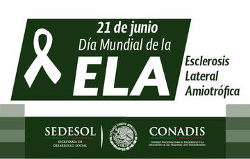 Imagen en tonos verde y blanco, con un moño blanco y la leyenda 21 de junio Día mundial de la ELA