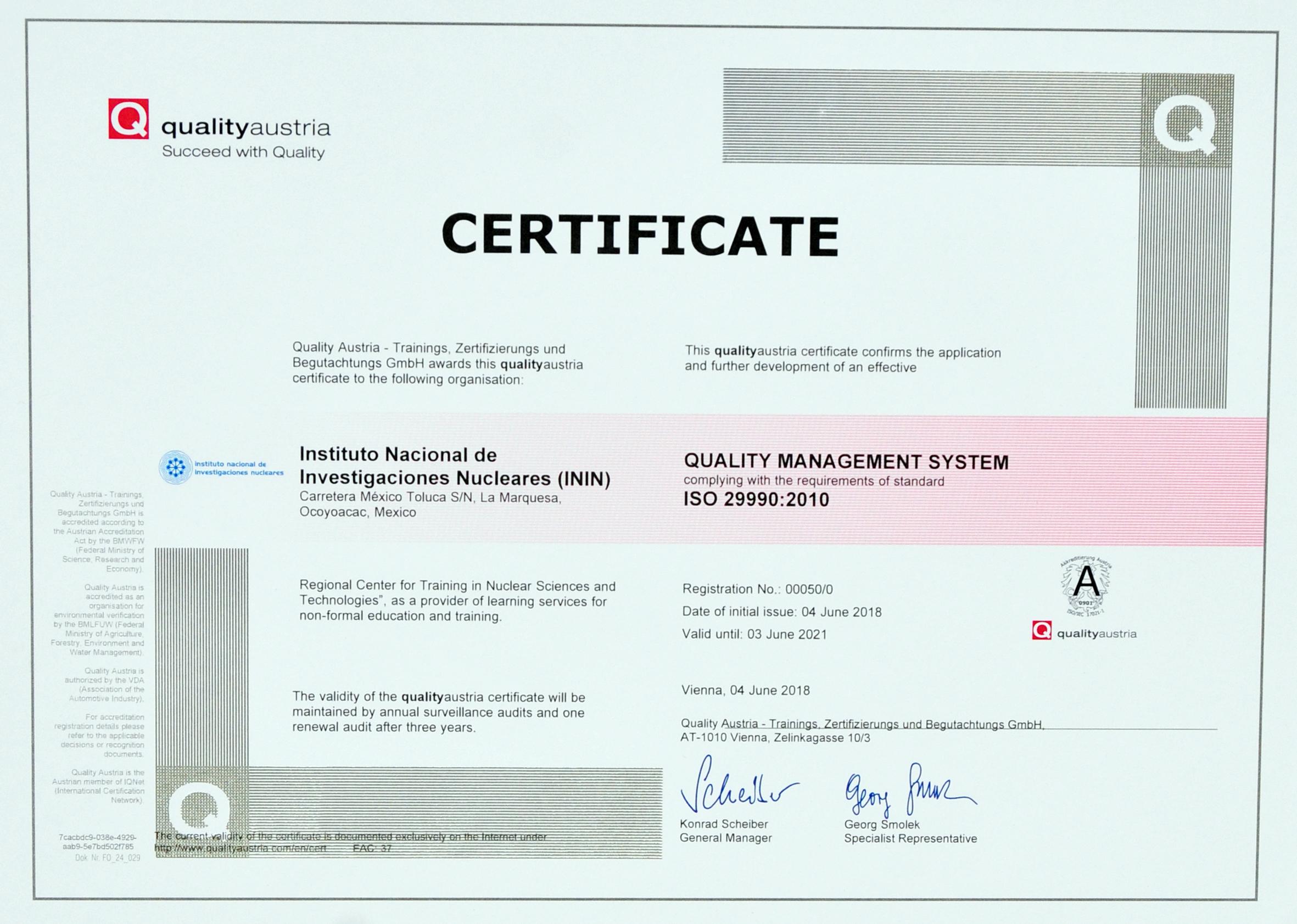 El ININ obtiene la certificación ISO 29990:2010