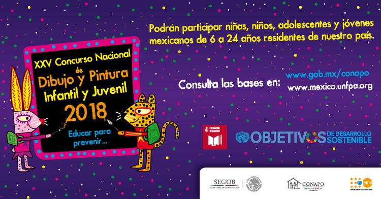 """Arte del cartel del XXV Concurso Nacional de Dibujo y Pintura Infantil y Juvenil 2018 """"Educar para Prevenir"""""""