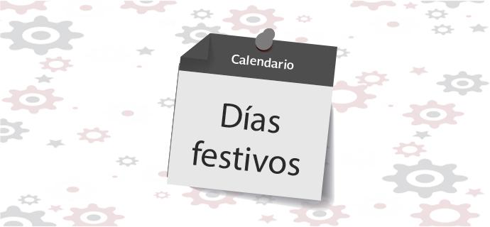 """Se muestra un recuadro en forma de calendario con la leyenda """"Días festivos""""."""