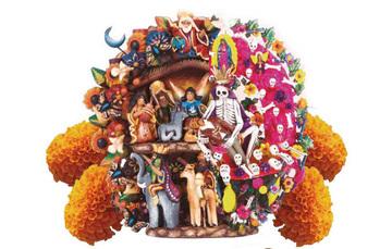 Fusión de árbol de la vida representando nacimientos y un árbol de la vida representando el día de muertos.