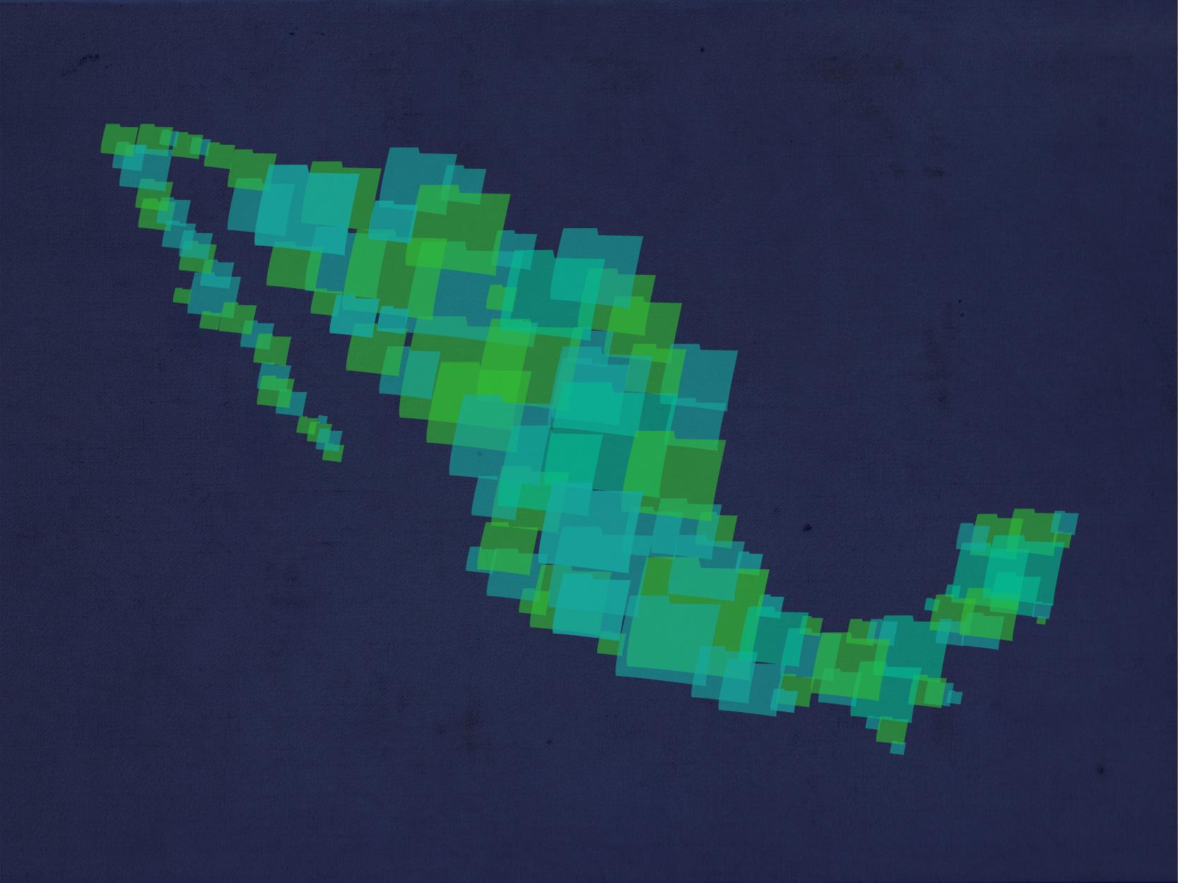 Mapa de México elaborado con carpetas de archivos.