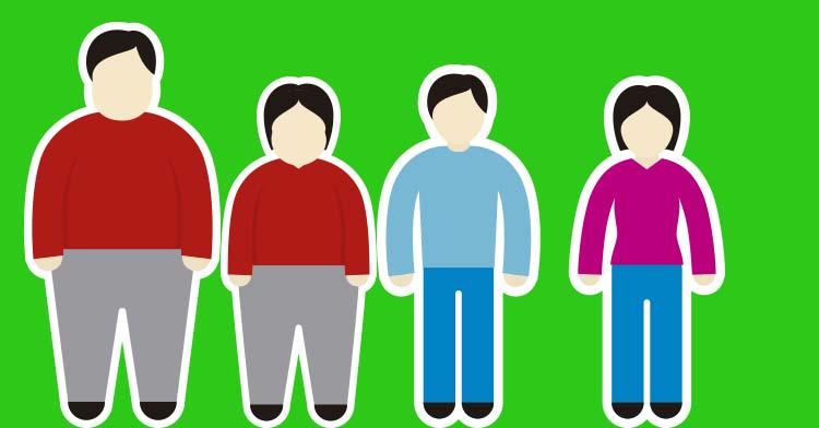 Viñeta de sobrepeso y obesidad en hombres y mujeres.