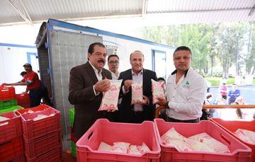 Realizaron un recorrido por la Planta Norte, el director General de la empresa, Abelardo Manzo González y el titular de Sedesol, Eviel Pérez Magaña