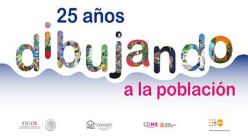 """Arte del cartel de la Exposición """"25 años dibujando a la población"""""""
