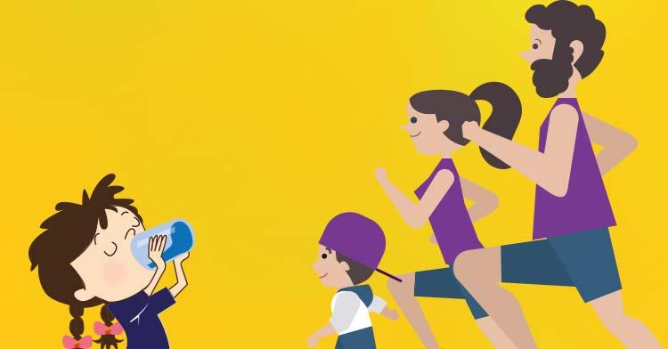 Familia corriendo.