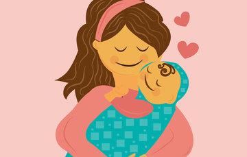 Ilustración de mujer con bebé..