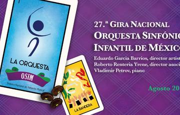 Banner de la 27.ª Gira Nacional de la Orquesta Sinfónica Infantil de México.