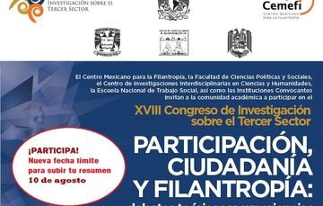Te esperamos en el décimo octavo Congreso de Investigación del tercer sector, los días 26, 27 y 28 de septiembre en la Facultad de Ciencias Políticas y Sociales de la UNAM