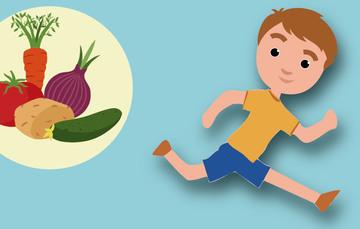 Lado izquierdo viñeta con verduras y de lado derecho niño corriendo.