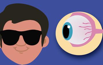Viñeta de persona con lentes oscuros y de lado derecho fisonomía del ojo.
