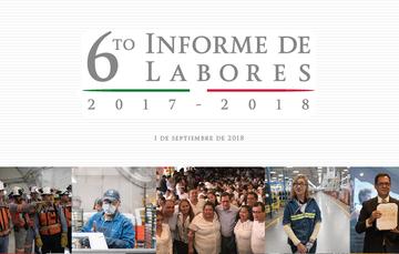 Imagen institucional del informe de labores y cinco imágenes de actividades de gobierno