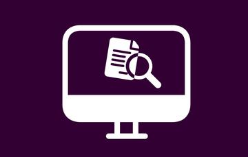 Imagen de un monitor con una lupa y una hoja de información con fondo morado