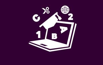 Imagen que muestra una laptop y la información que se puede obtener por medio del uso de Internet sobre un fondo morado