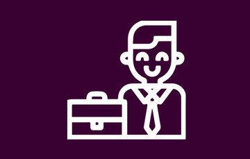 Imagen de fondo morado que contiene las figuras de un hombre con un portafolio
