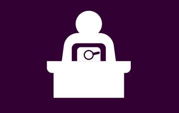 Imagen de fondo morado con figura de una persona en busca de información