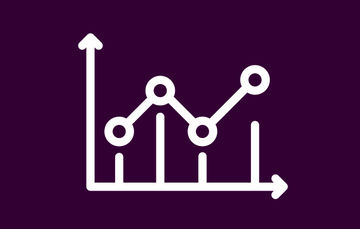 Ilustración de una gráfica que contiene datos estadísticos en color blanco con morado