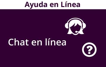 """Imagen con la leyenda """"Chat en línea"""" y la figura de una mujer con unos audífonos con micrófono y un logo de un signo de interrogación, en color blanco con morado"""