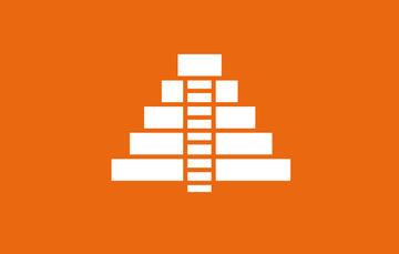 Ilustración de una pirámide en color blanco con fondo anaranjado