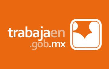 """Imagen que muestra la página de Internet """"trabajaen.gob.mx"""" junto a un cuadro en color blanco con un fondo anaranjado"""