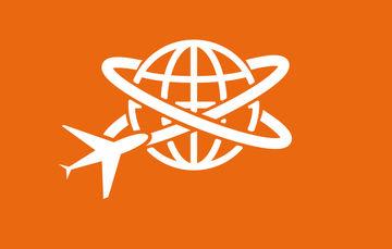 Ilustración de un avión dando vueltas alrededor del mundo con fondo anaranjado