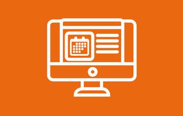 Ilustración de un monitor con un símbolo de calendario sobre un fondo naranja