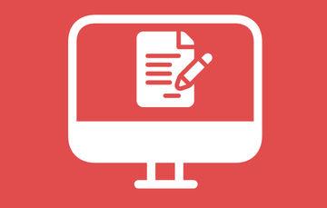 Ilustración de una computadora con un documento en el monitor sobre un fondo rojo