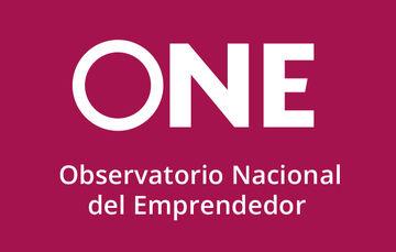 """Imagen con el logotipo del Observatorio Nacional del Emprendedor """"ONE"""" sobre un fondo morado"""
