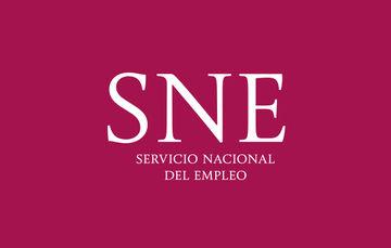 Imagen con el logotipo del Servicio Nacional del Empleo (SNE) sobre un fondo morado