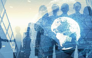 personas colaborando en una red global de negocios