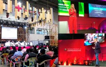 Orador impartiendo una conferencia a emprendedores durante la Semana Nacional del Emprendedor