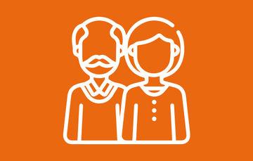 Imagen que muestra la figura de un hombre y una mujer sobre un fondo naranja