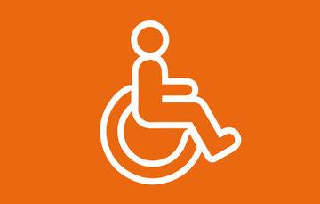 Ilustración que contiene la figura de una persona discapacitada