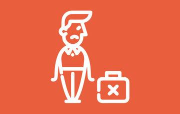 """Imagen de un adulto con un maletín de trabajo marcado con una """"X"""""""