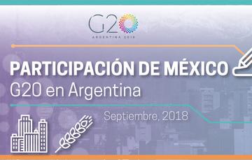 Imagen gráfica: Participación de México en el G20 en Argentina. Muestra un gráfico de la ciudad y un trigo. Septiembre, 2018