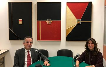 El Emb. Miguel Ruiz Cabañas, Subsecretario para Asuntos Multilaterales y Derechos Humanos de la SRE y la Dra. Natalia Saltalamacchia Ziccardi, Directora General del Instituto Matías Romero.