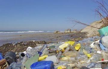 Vista general de residuos plásticos a la orilla de la playa