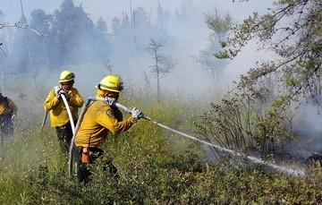 Dos combatientes de incendios forestales manipulando manguera de agua en incendio controlado.