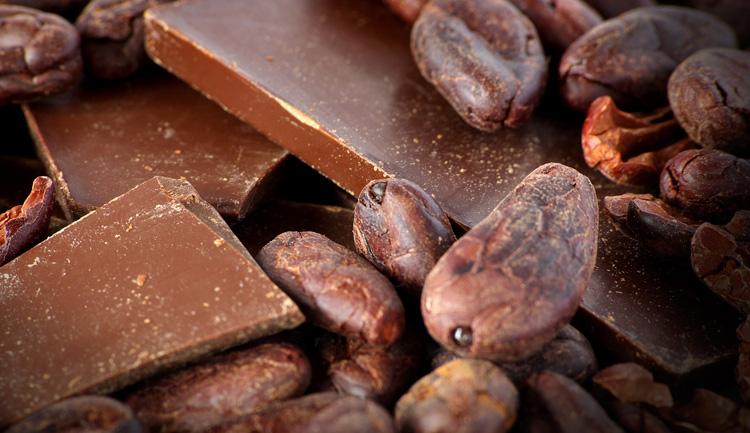 Vista detallada de barra de chocolate y granos de cacao.