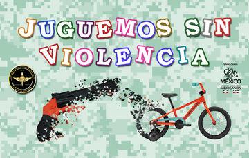 Texto juguemos sin violencia e imágenes representativos a una bicicleta y arma de juguete.