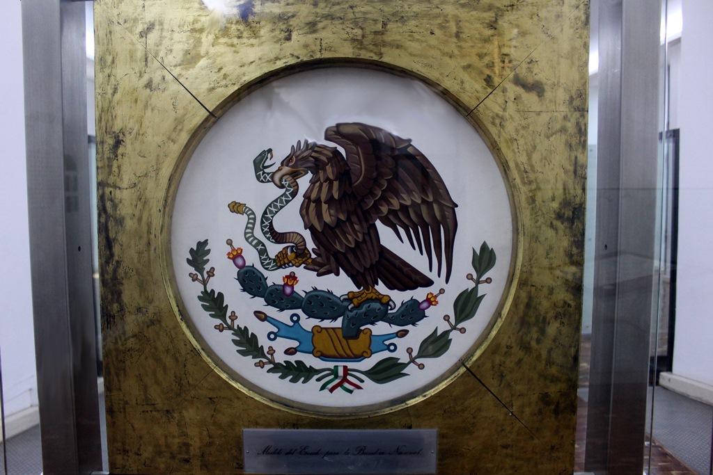 Vista general de cuadro del escudo nacional en vitrina de museo.