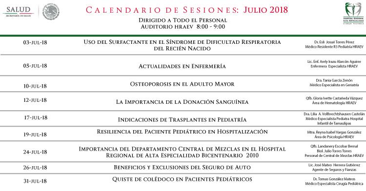 Mes De Julio Calendario.Calendario De Sesiones Del Mes De Julio De 2018 Hospital